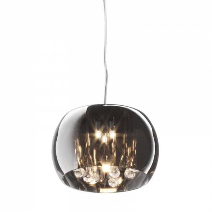 Lustră pendul Queen, 136x28x28 cm, sticla/ cristal/ metal, argintiu/ transparent/ crom