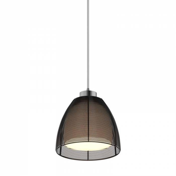 Lustră pendul Rosaura, 120x19x19 cm, aluminiu/ sticla, negru/ crom