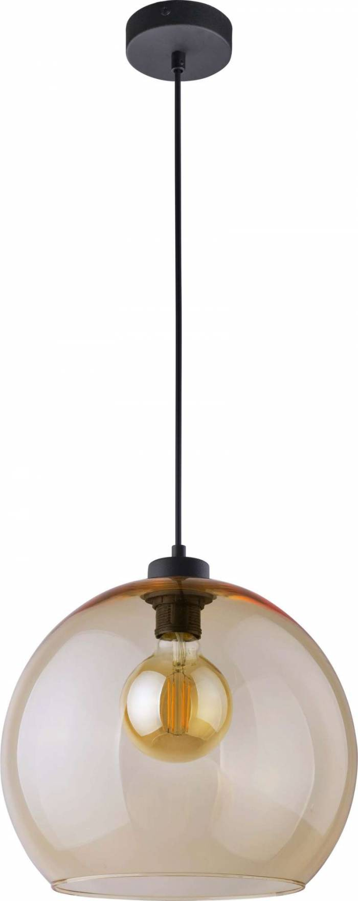 Lustră pendul Sarah , 120x30x30 cm, metal/ sticla/ plastic, chihlimbar/ negru