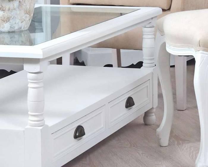 Masă de cafea cu două sertare Alexander , 45x110x56 cm, lemn de plop/ mdf/ metal, alb