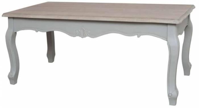 Masă de cafea stil clasic Gina , 50x120x60 cm, lemn de plop/ mdf, gri/ maro deschis