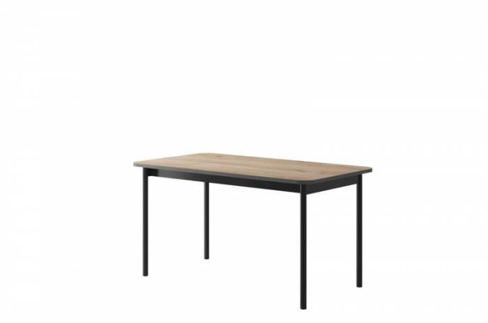 Masă living Caron, 75x140x80 cm, pal/ lemn, maro/ negru