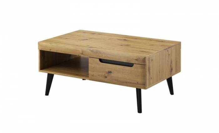 Masuță de cafea cu raft și sertar Alix, 46x107x67 cm, pal/ mdf/ lemn, maro/ negru