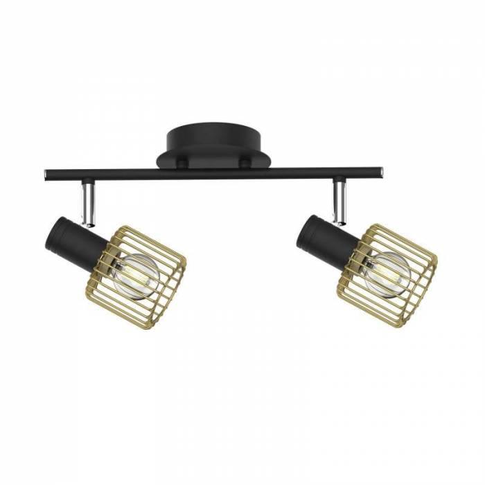 Plafonieră cu două brațe Norberto, 19,1x11x30,4 cm, metal, negru/ auriu