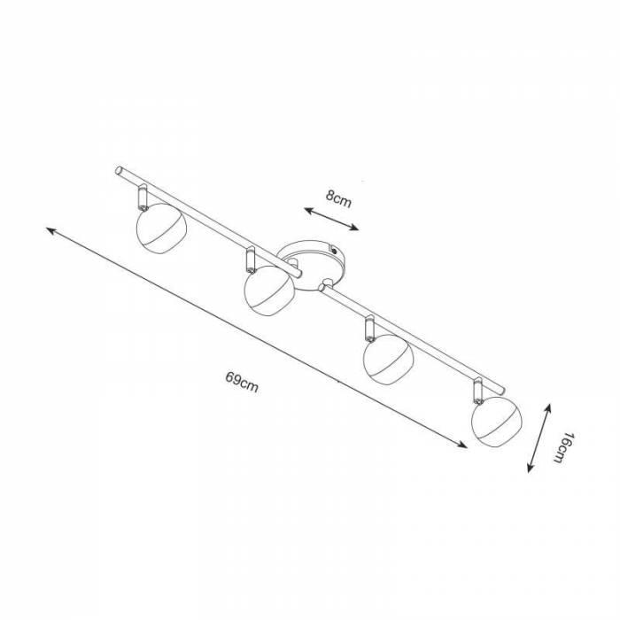 Plafonieră cu patru becuri Robbie , 16x8x69 cm, metal, crom/ negru
