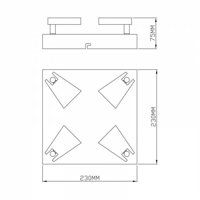 Plafonieră cu patru leduri Leila, 7,5x23x23 cm, metal, alb