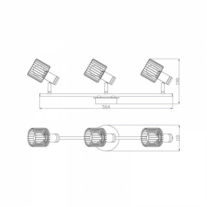 Plafonieră cu trei brațe Odell, 19x11x50,4 cm, metal, negru/ auriu