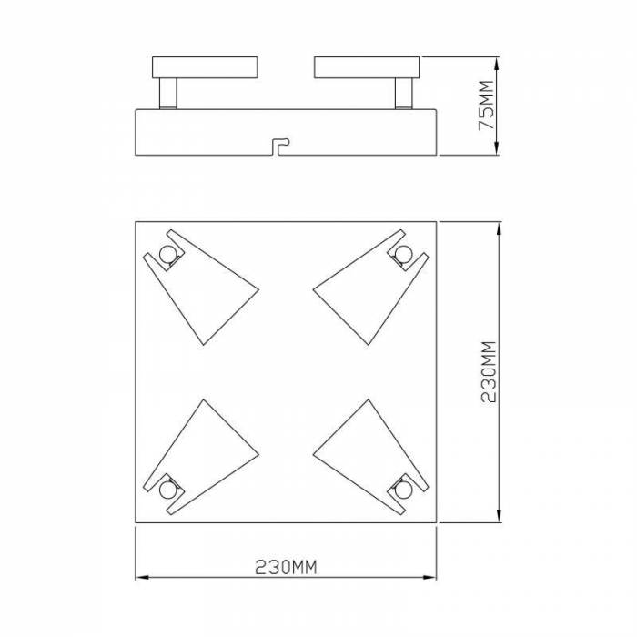 Plafonieră pătrată cu patru leduri Myrtis, 7,5x23x23 cm, metal, negru