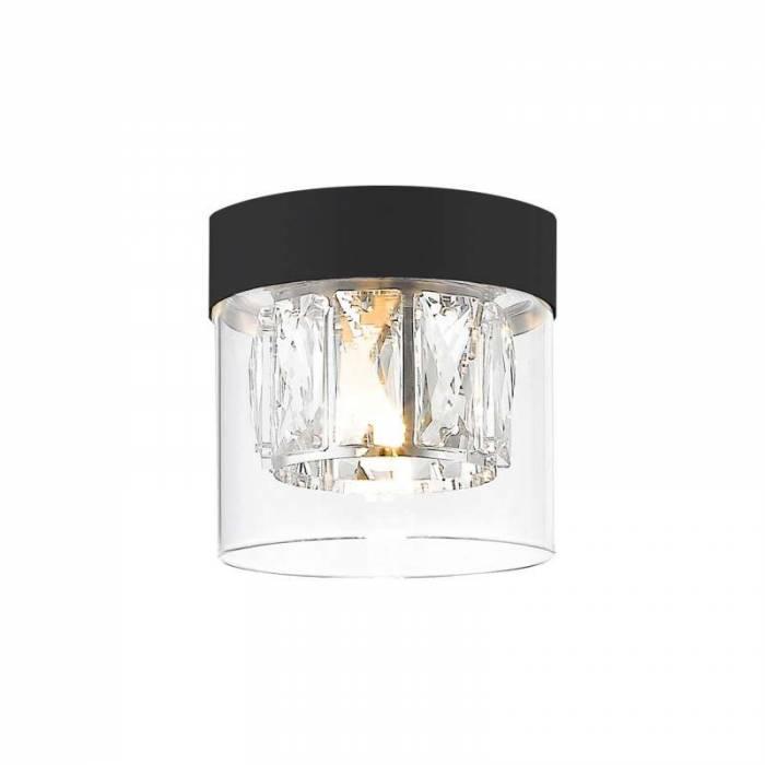 Plafonieră rotundă Adrien, sticla/ metal, transparent/ negru