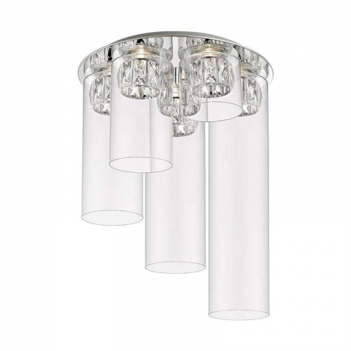 Plafonieră rotundă cu led Cynthia, sticla/ metal, transparent/ argintiu/ crom