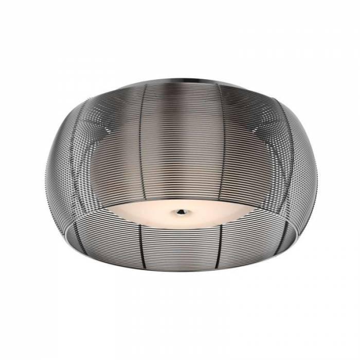 Plafonieră rotundă Rashida, 19x40x40 cm, sticla/ aluminiu, argintiu