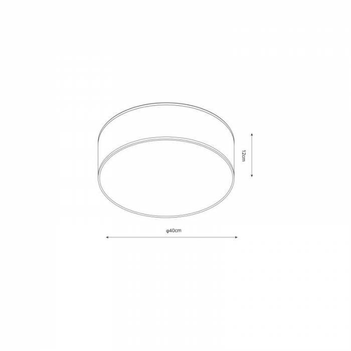 Plafonieră rotundă Rickey, 12x40x40 cm, material textil, negru
