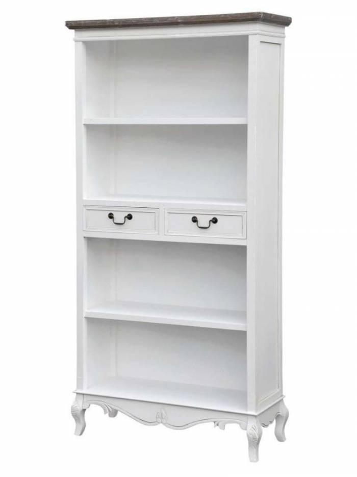 Bibliotecă cu trei rafturi și două sertare Berenice, 179x90x35 cm, lemn de plop/ mdf/ metal, alb/ maro