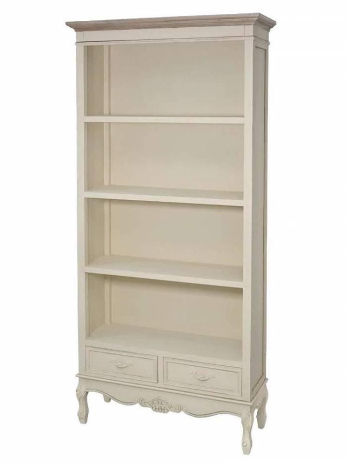 Bibliotecă cu trei rafturi și două sertare Jeraldine  , 180x89x33 cm, lemn de plop/ mdf/ metal, crem/ maro deschis