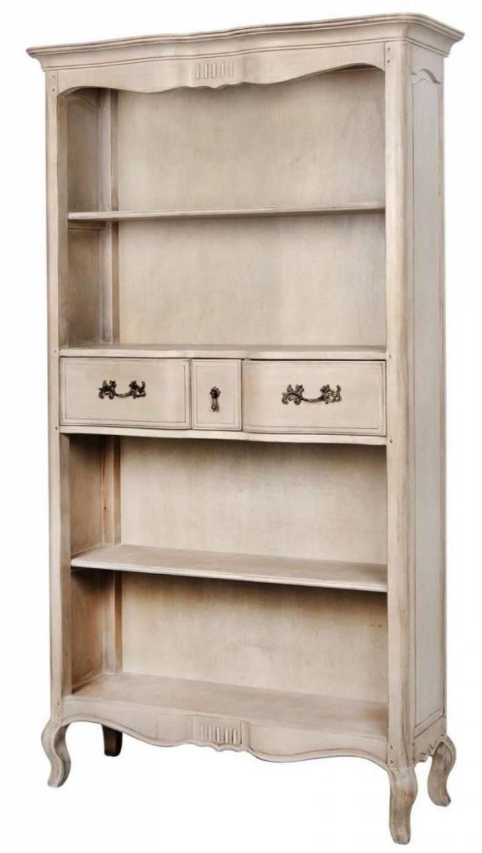 Bibliotecă cu trei rafturi și trei sertare Dominica , 195x112x39 cm, lemn de mesteacan/ metal, bej
