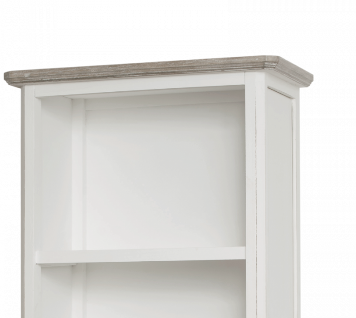 Bibliotecă cu trei sertare Collin, 180x60x36 cm, lemn de plop/ mdf/ metal, alb/ maro