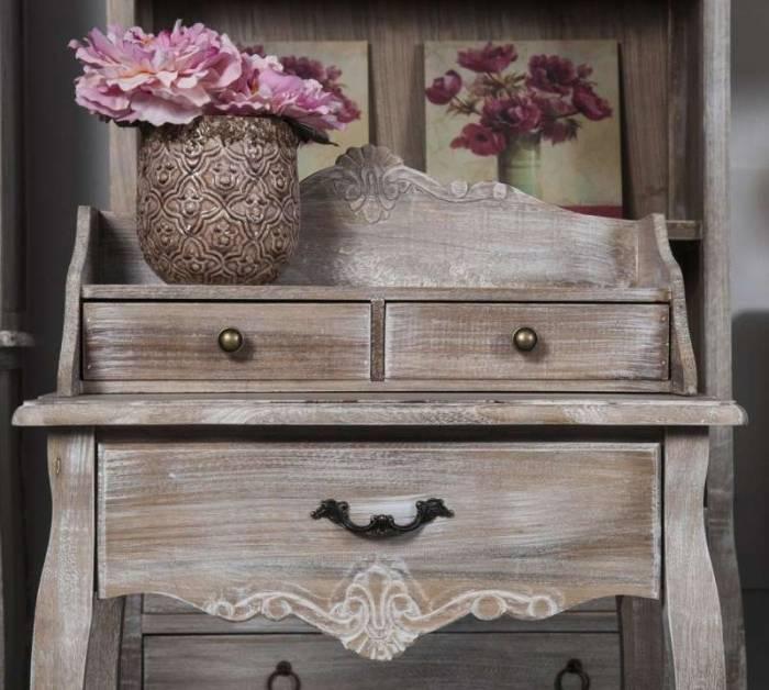 Birou stil clasic cu trei sertare Gilbert, 104x60x35 cm, lemn de plop/ mdf/ furnir/ metal, maro deschis