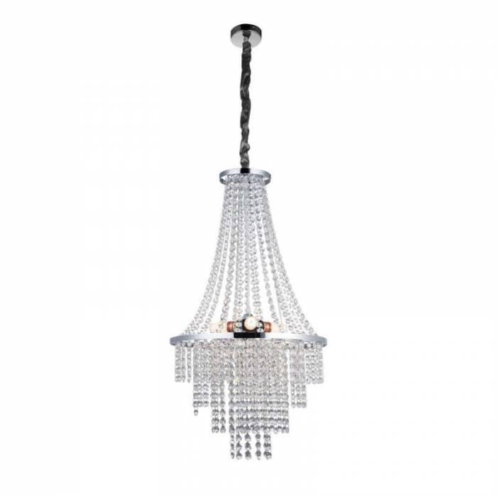 Candelabru Antoinette, 64x38,5x38,5 cm, metal/ cristal, argintiu/ transparent/ crom