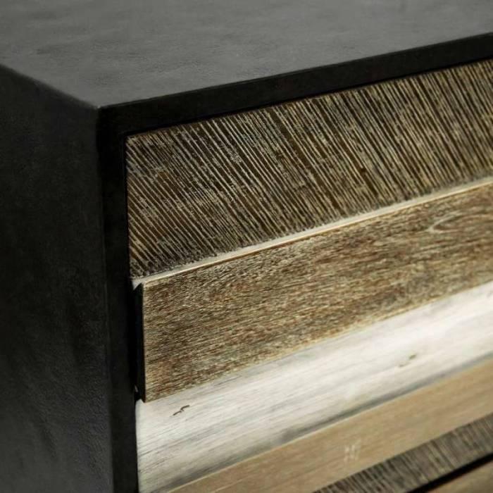 Comodă cu cinci sertare Beth, 125x100x45 cm, lemn de acacia/ mdf/ metal, gri/ negru