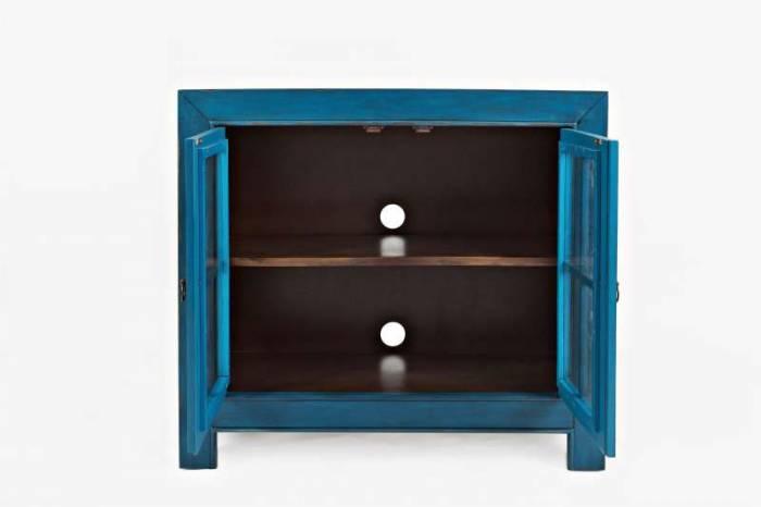Comodă cu două uși Albastru Karan, 82x92x38 cm, lemn de acacia/ furnir, albastru