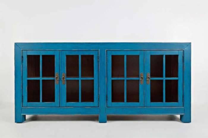 Comodă cu patru uși Albastru Karan, 82x178x46 cm, lemn de acacia/ furnir, albastru