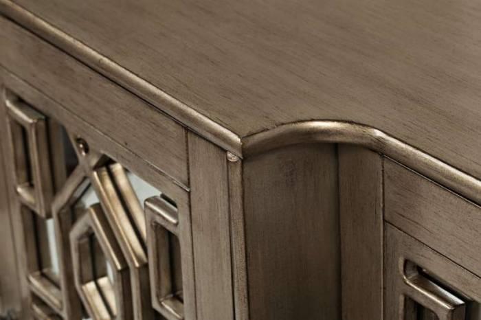 Comodă cu patru uși din oglindă Karan, 87x178x46 cm, lemn de acacia/ furnir, argintiu