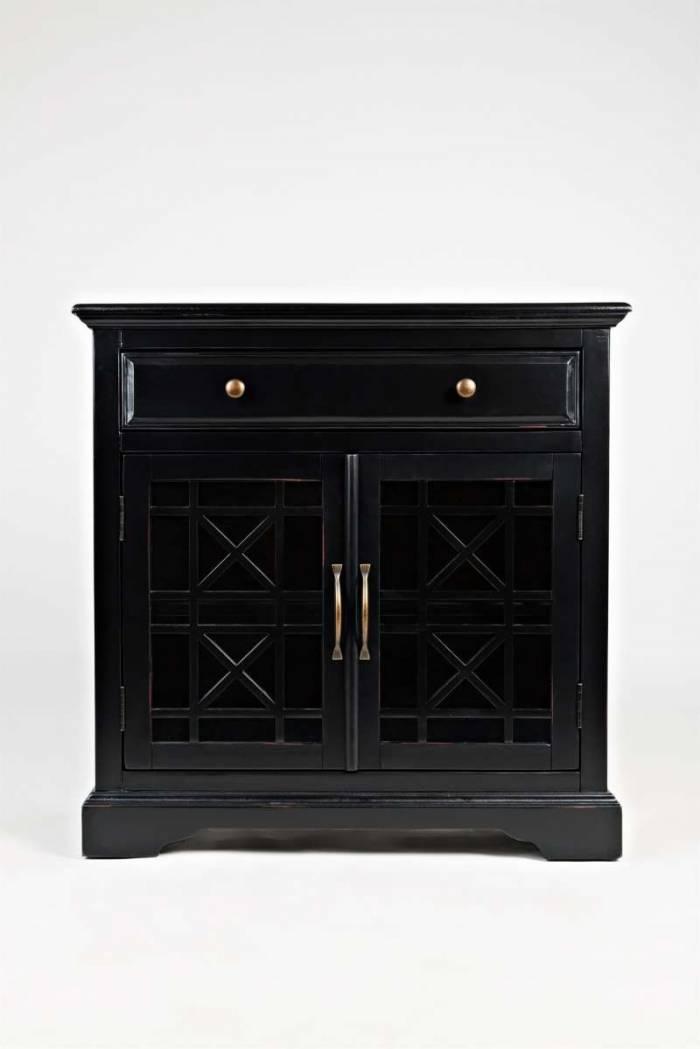 Comodă cu sertar și două uși Karan, 82x82x38 cm, lemn de acacia/ mdf, negru