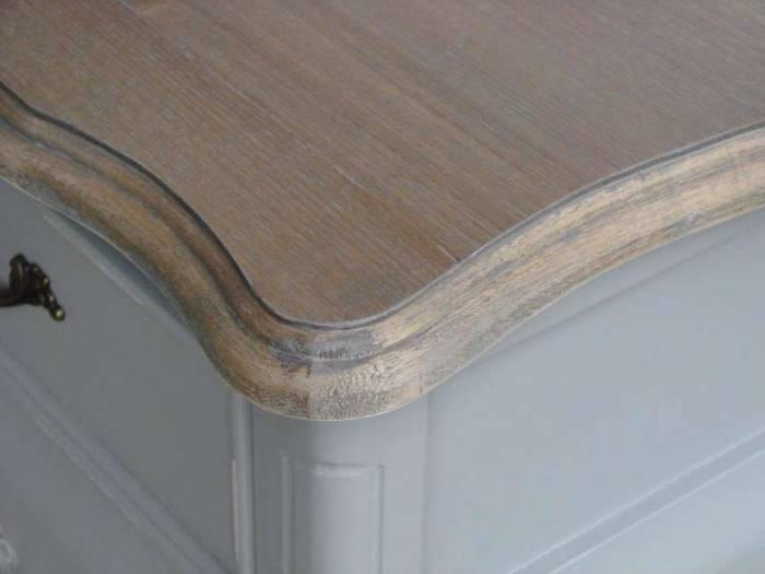 Comodă cu trei sertare Gina , 80x100x40 cm, lemn de plop/ mdf/ metal, gri/ maro deschis