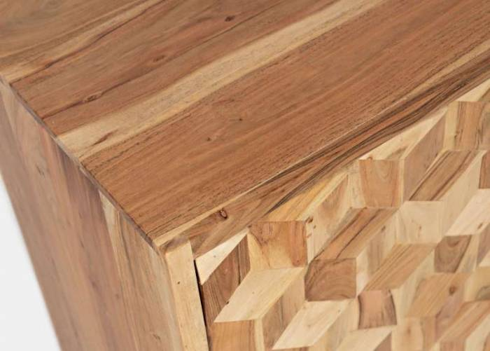 Comodă cu trei uși Karan, 84x160x46 cm, lemn de acacia/ fier, maro