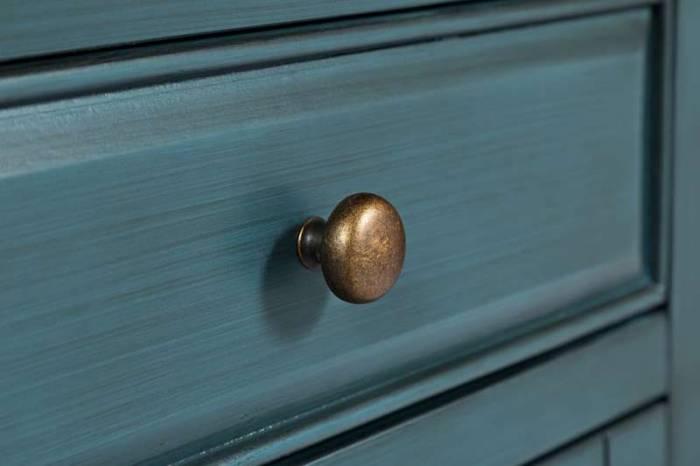 Comodă cu uși și sertare Karan, 82x153x49 cm, lemn de acacia/ mdf, albastru