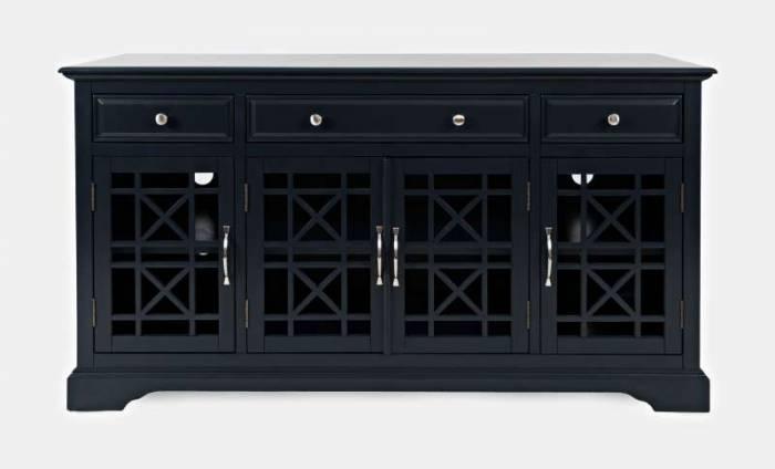 Comodă cu uși și sertare Karan, 82x153x49 cm, lemn de acacia/ mdf, bleumarin