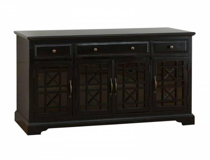 Comodă cu uși și sertare Karan, 82x153x49 cm, lemn de acacia/ mdf, negru