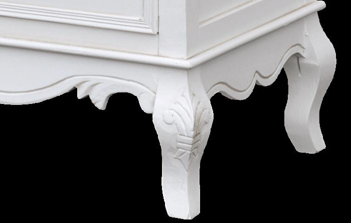Comodă înaltă cu două uși Berenice , 110x48x24 cm, lemn de plop/ mdf, alb/ maro