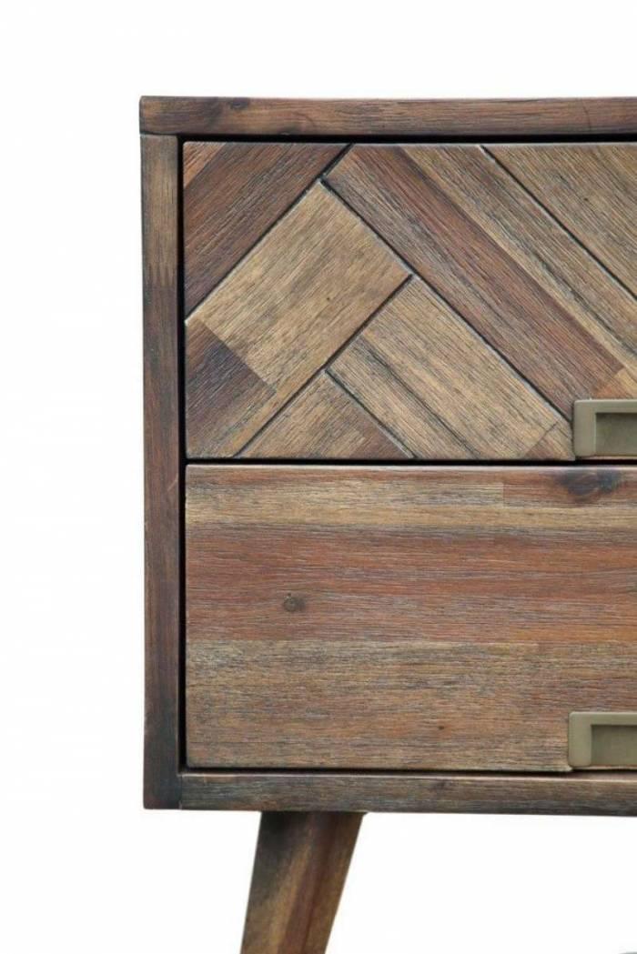 Comodă living cu uși și sertare Genaro, 140x110x40 cm, lemn de acacia, maro