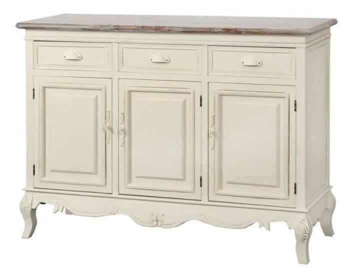 Comodă stil clasic cu trei sertare și trei uși Adelaida, 85x120x40 cm, lemn de plop/ mdf/ metal, crem/ maro deschis
