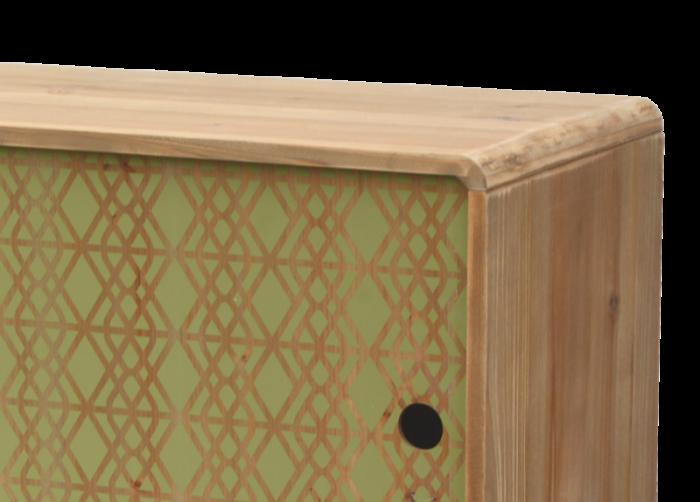 Comodă stil exotic cu două uși Amiee, 60x100x34 cm, lemn de brad/ metal, maro deschis/ verde