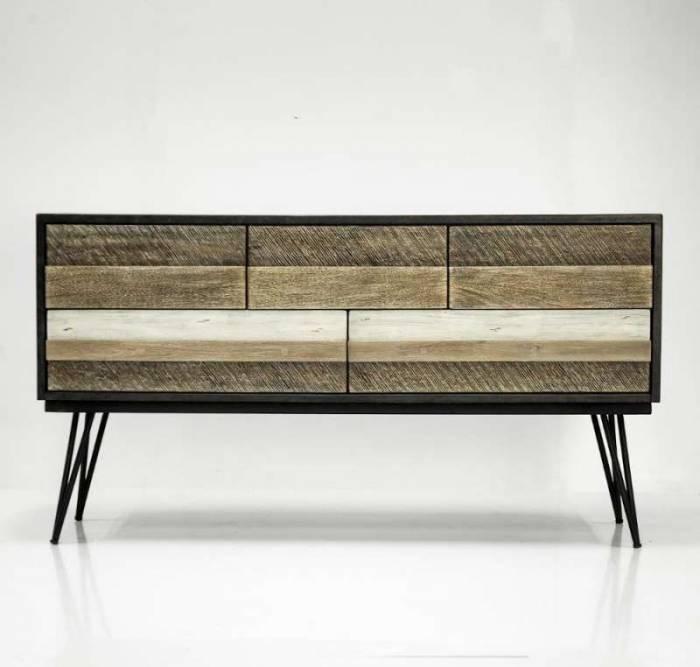 Comodă televizor cu cinci sertare Beth, 80x150x45 cm, lemn de acacia/ mdf/ metal, gri/ negru