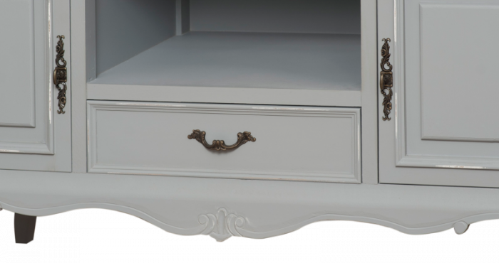 Comodă TV cu două uși Gina  , 66x120x50 cm, lemn de plop/ mdf/ metal, gri/ maro deschis