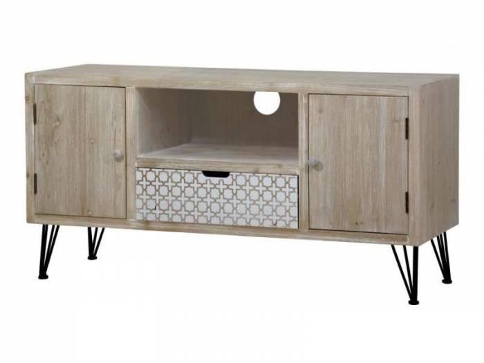 Comodă TV cu sertar două uși Hilaria, 60x115x43 cm, lemn de plop/ mdf/ metal, maro deschis
