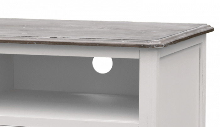 Comodă TV stil clasic cu două sertare Collin, 51x120x50 cm, lemn de plop/ mdf/ metal, alb/ maro