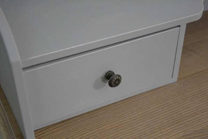 Consolă cu patru sertare și raft Gina , 103x90x40 cm, lemn de plop/ mdf/ metal, gri/ maro deschis