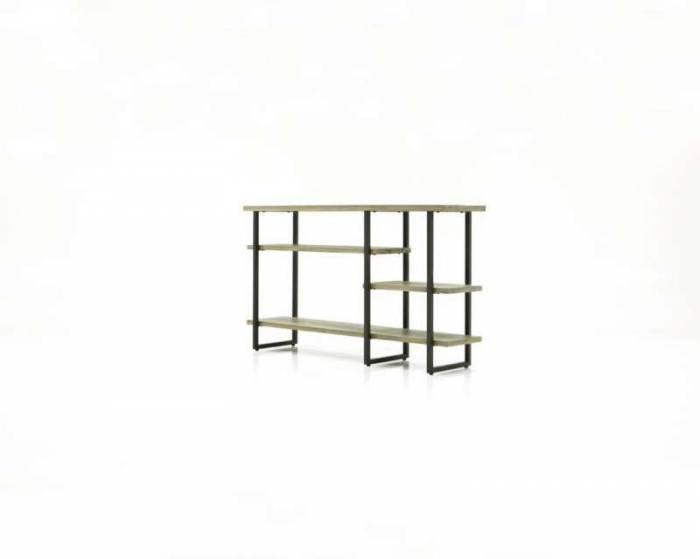 Consolă cu trei rafturi Daniel , 80x140x35 cm, lemn de acacia/ mdf, gri