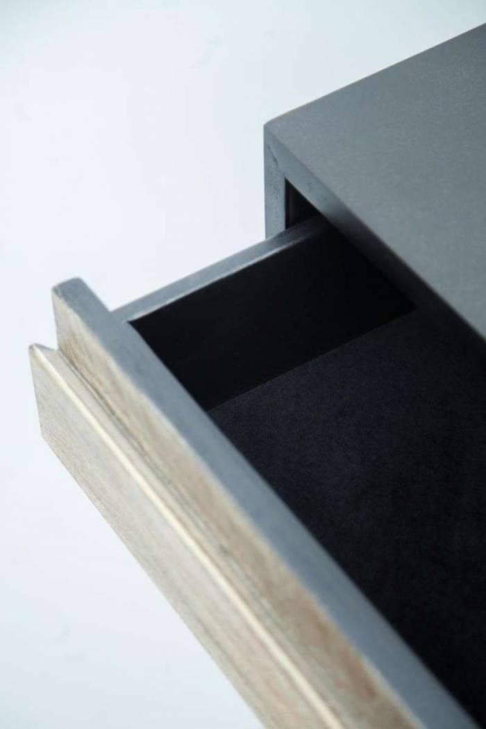 Consolă cu trei sertare Beth, 80x140x35 cm, lemn de acacia/ mdf/ metal, gri/ negru