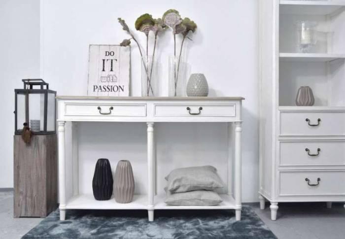 Consolă stil clasic cu raft și două sertare Collin, 80x120x40 cm, lemn de plop/ mdf/ metal, alb/ maro
