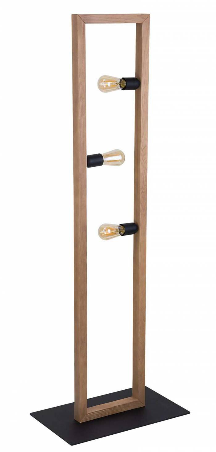Lampadar cu trei becuri Sanford, 140x50x30 cm, cherestea/ metal/ lemn, negru pin