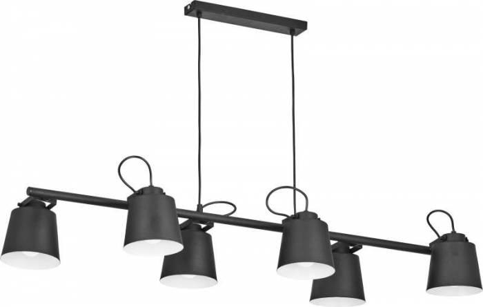 Lustră cu șase brațe Veronique, 90x110x32 cm, metal, alb/ negru