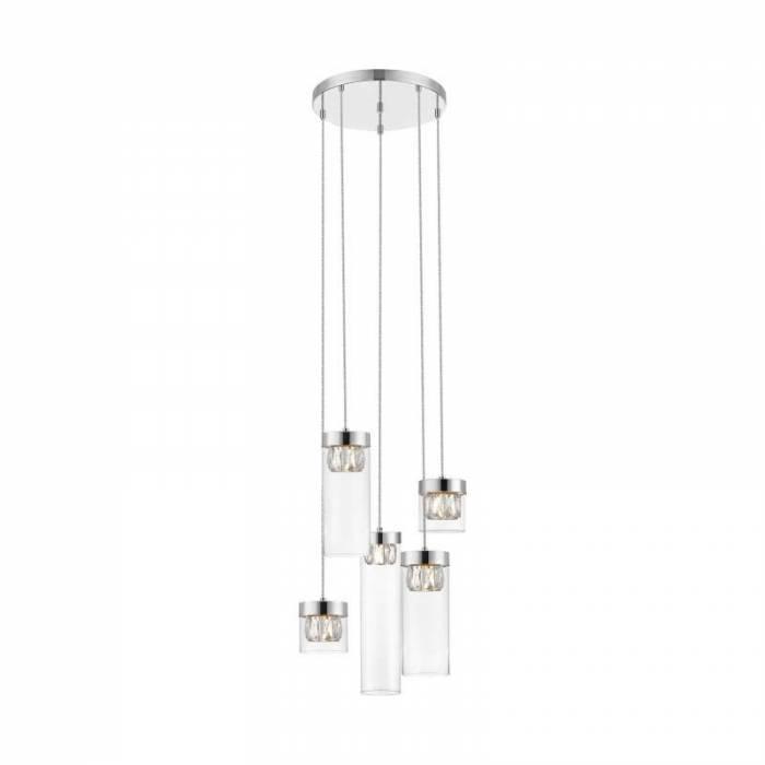Lustră pendul cu cinci brațe Angelika, 76-146x43x43 cm, metal/ sticlă, argintiu/ crom/ transparent