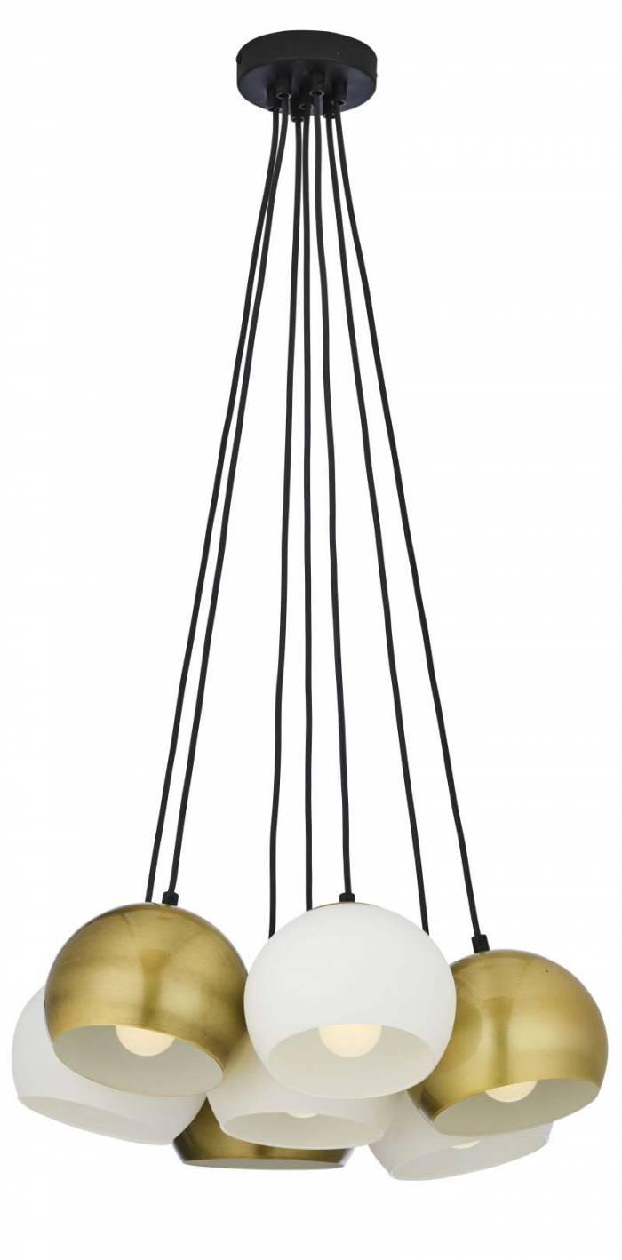 Lustră pendul cu șapte brațe Spencer, 95x54x54 cm, metal, auriu/ alb