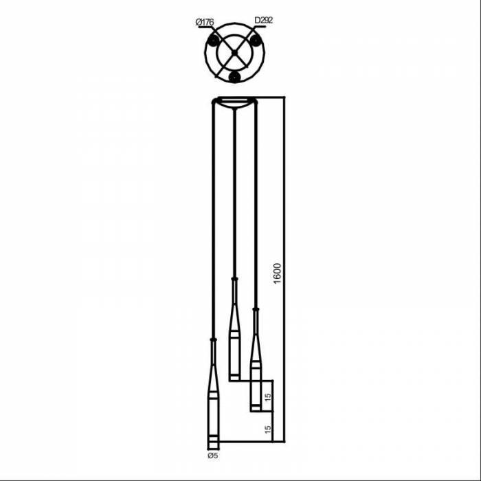 Lustră pendul cu trei brațe Herbert, metal/ sticla, negru