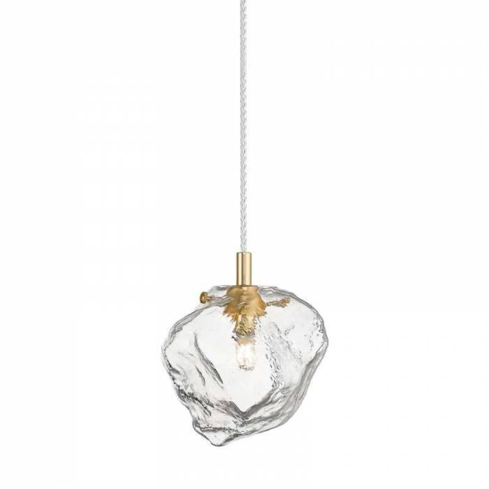 Lustră pendul Evita, sticla/ metal, transparent/ auriu